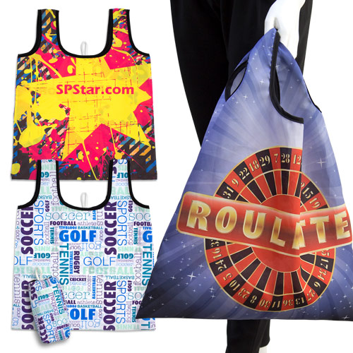 S101004A Sublimation Foldable Shopping Bag with short handles in a pocket-size sleeve