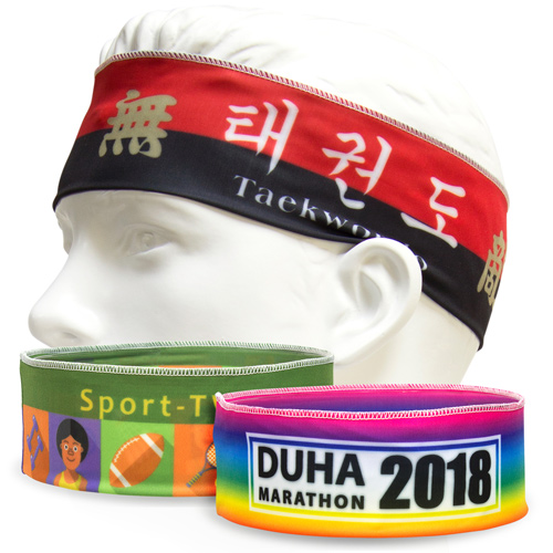 S111038A Narrow Sports Head Bands made of 4-way stretch fabric by sublimation