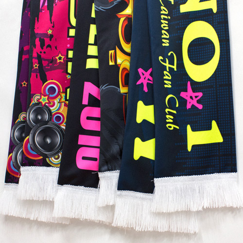 S141001N Kid's Size Sports Fan Scarf of CMYK + Fluorescent Yellow and Magenta