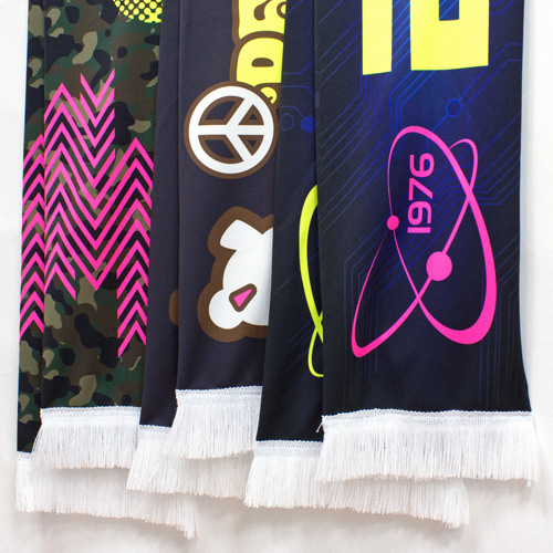 S141003N Long Sports Fan Scarf of CMYK + Fluorescent Yellow and Magenta